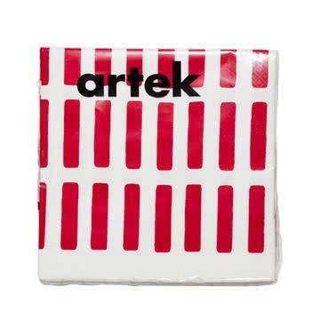 Artek - Siena Papierserviette, groß, rot/ weiß