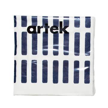 Artek - Siena Papierserviette, groß, weiß/ blau