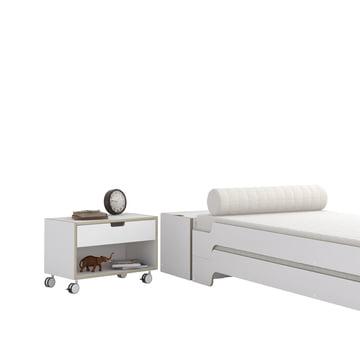 Nachttisch Modular und Stapelliege in Weiß mit Multiplex