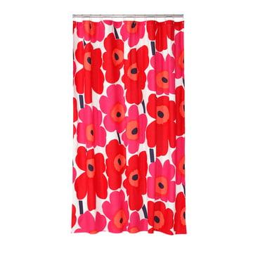 Marimekko - Unikko Duschvorhang, weiß / rot