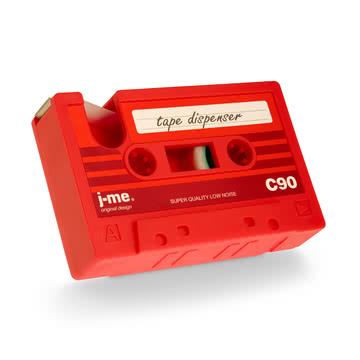 j-me - cassette tape Klebeband-Abroller, rot - schräg unten