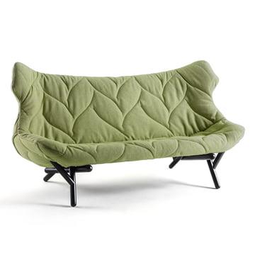 Kartell - Foliage Sofa, grünes Trevia, schwarze Beine