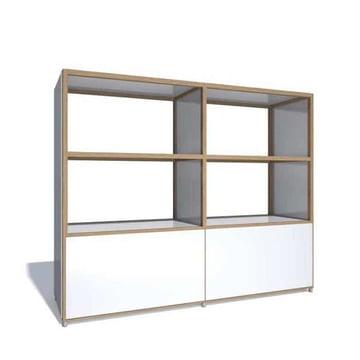 Flötotto - ADD Highboard, 2 Großraumschubladen, Melamin weiß
