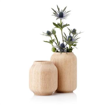 Applictata - Poppy Vasen, Eiche, Blumen