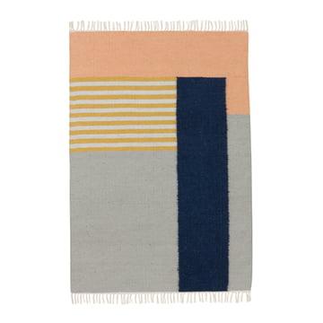 ferm living - Kelim Rug Teppich, white lines, groß