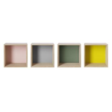 Muuto - Stacked Regalmodule mit Rückwand, medium, Esche, Farben