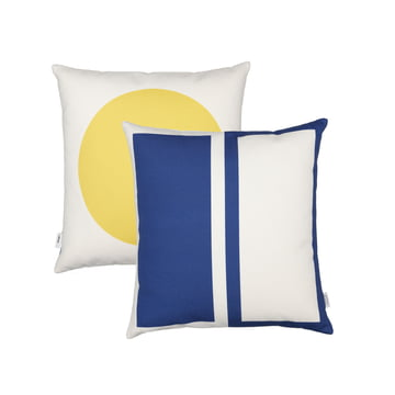 Graphic Print Pillow Rectangles / Circle 40 x 40 cm von Vitra in Blau / Senfgelb