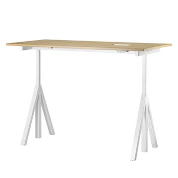 String - Works Schreibtisch, weiß / Eiche