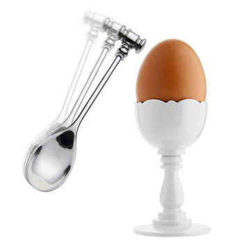 Alessi - Dressed Eierbecher und Eierlöffel, weiß