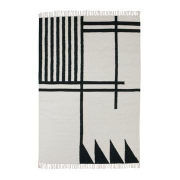 ferm living - Kelim Rug, black lines, groß