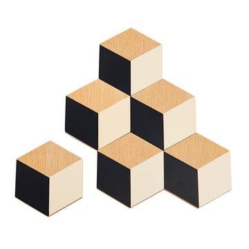 Areaware - Untersetzer, schwarz / beige (6er-Set)