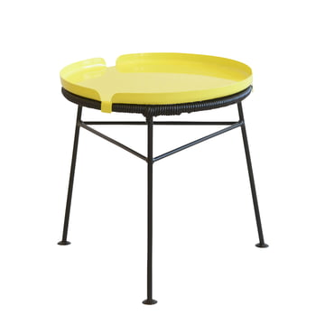 OK Design - Centro Tisch, schwarz / Tray, gelb