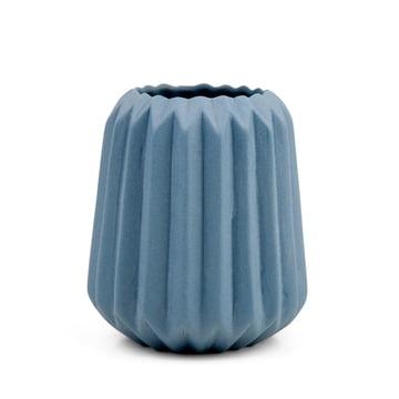 Riffle 2 Keramikteelichthalter / -vase von Novoform in blau