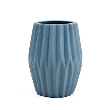 Riffle 3 Keramikteelichthalter / -vase von Novoform in blau