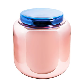Pulpo - Container Table, altrosa versilbert / Deckel blau