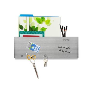 Beschriftbare Magnetleiste mit Briefablage und Haken