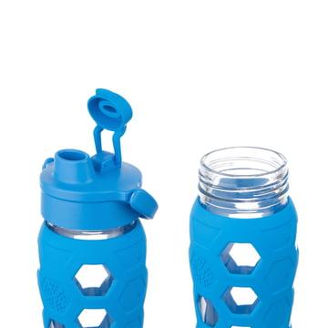 Glasflasche 0.6 Liter mit Flip Top Cap von Lifefactory in Blau