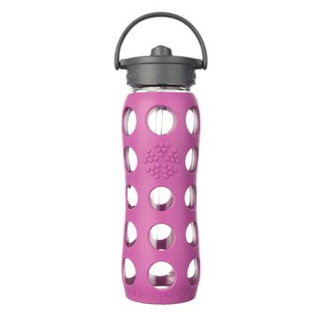 Glasflasche 0.6 Liter mit Straw Cap von Lifefactory in Lila