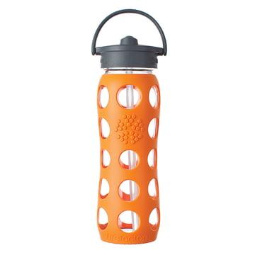 Glasflasche 0.6 Liter mit Straw Cap von Lifefactory in Orange