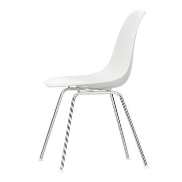 Vitra - Eames Plastic Side Chair DSX (H 43 cm), verchromt / weiß, Filzgleiter weiß (Hartboden)