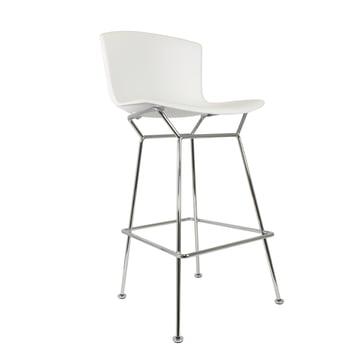 Knoll - Bertoia Kunststoff-Barhocker, weiß / verchromt