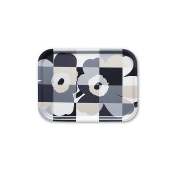 Das Ruutu-Unikko Tablett von Marimekko in Schwarz / Weiß