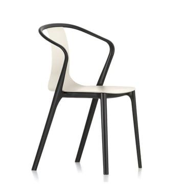 Belleville Armchair Plastic von Vitra in Tiefschwarz/Cremé