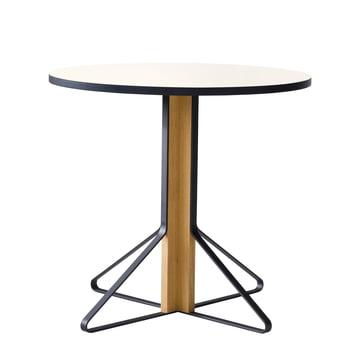 REB 003 Kaari Tisch Ø 80 cm von Artek in Hochglanz Weiß aus Eiche natur