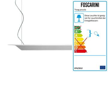 Die Troag Pendelleuchte piccola von Foscarini in weiß, 2 m