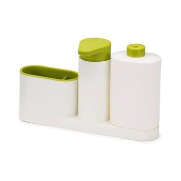 3-teiliges SinkBase Plus Spülbecken-Reinigungs-Set von Joseph Joseph in Weiß und Grün