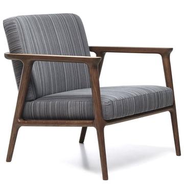 Moooi - Zio Lounge Chair, Eiche zimtfarben / Bezug Manga blau