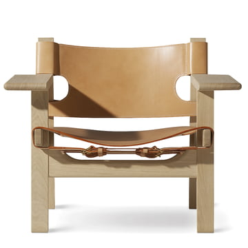 Spanish Chair von Fredericia in Eiche geseift und Sattelleder Natur