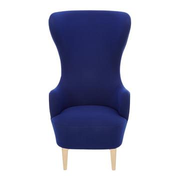 Wingback Chair von Tom Dixon aus Eiche mit Polstern in Blau