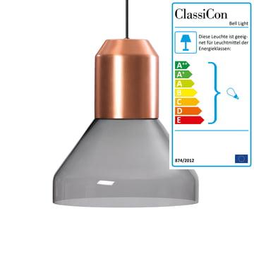 ClassiCon - Bell Light Pendelleuchte, Kupfer / Kristallglas grau