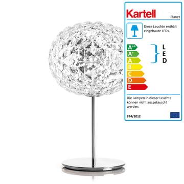 Dimmbare Planet LED Tischleuchte mit Standfuß von Kartell in Glasklar