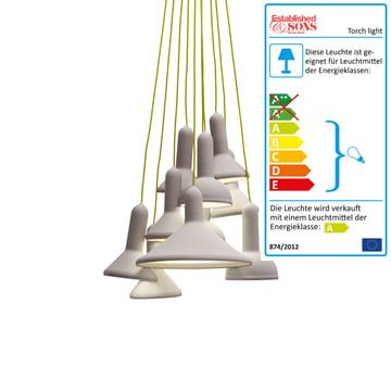 Established & Sons - Torch Light Bunch Pendelleuchte, signalgrau / gelb