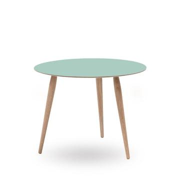 Play Round Laminate Beistelltisch Ø 60 cm von bruunmunch in Dusty Jade / Eiche weißöl