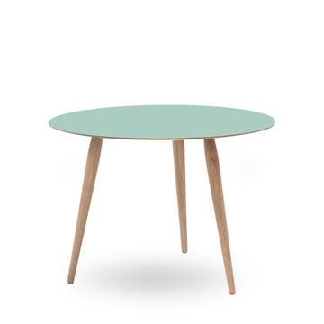 Play Round Laminate Beistelltisch Ø 90 cm von bruunmunch in Dusty Jade / Eiche weißöl