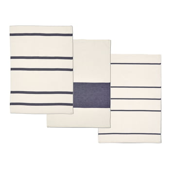 Stripes Geschirrtücher von Skagerak in Whisper White / Dark Blue (3-er Set)