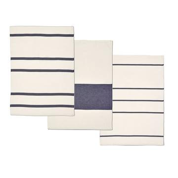 Stripes Geschirrtücher von Skagerak in Whisper White / Dark Blue (3-er Set)