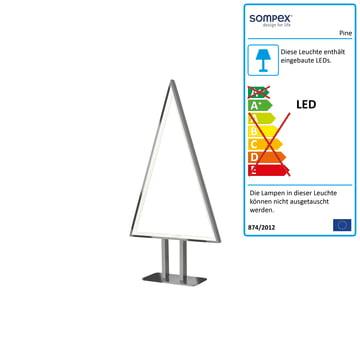 Pine LED Tischleuchte 50 x 25 cm von Sompex aus Aluminium
