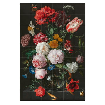 Blumenstillleben in einer Glasvase (De Heem) von IXXI in 120 x 180 cm