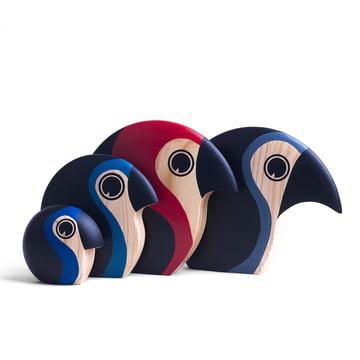 Handbemalte Holz-Papageien in verschiedenen Farben / Größen