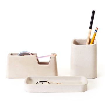 Concrete Desk Set von Areaware in Grau (3tlg. Set)