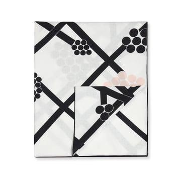 Hortensie Tischdecke 220 x 140 cm von Marimekko in Schwarz / Weiß