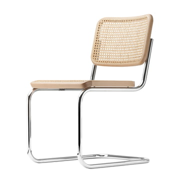 S 32 Stuhl von Thonet in Chrom / Buche Natur (TP 17) / Rohrgeflecht