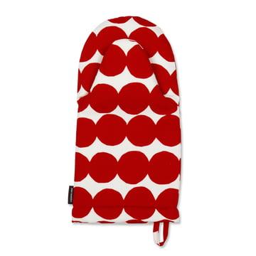 Räsymatto Ofenhandschuh von Marimekko in Rot / Weiß