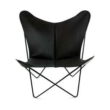 Ox Denmarq - Trifolium Chair, Stahl pulverbeschichtet, schwarz/ Leder schwarz