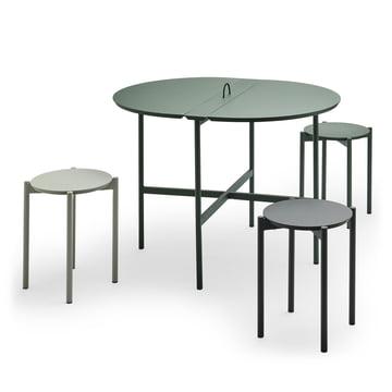 Der Skagerak - Picnic Tisch 105 cm in jagdgrün mit Picnic Hocker in slate grey / anthrazit / jagdgrün