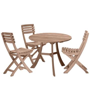 Skagerak - Vendia Kampagnen-Set, teak (1 Tisch und 3 Stühle)